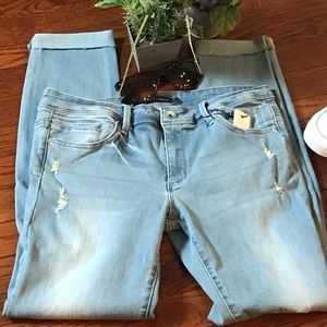 Tractr distressed blue ankle cuffed skinny jeans
